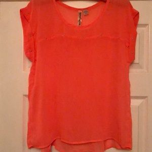 Women's Coral, Short-sleeve Sheer Blouse